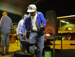 picture of Dwight blacksmithing 2008